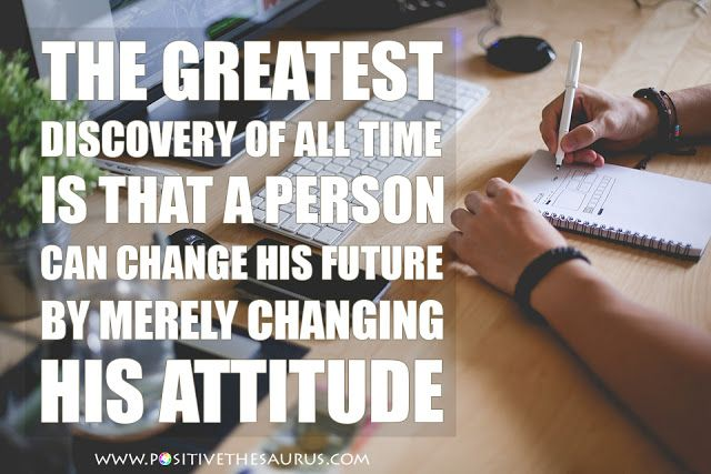 """Inspirational quote by Oprah Winfrey  """"The greatest discovery of all time is that a person can change his future by merely changing his attitude.""""  #QuoteSaurus #PositiveSaurus #OprahWinfrey #PositiveWords #PositiveQuotes http://www.positivethesaurus.com/2015/06/synonyms-for-motivation-and-enthusiasm.html"""
