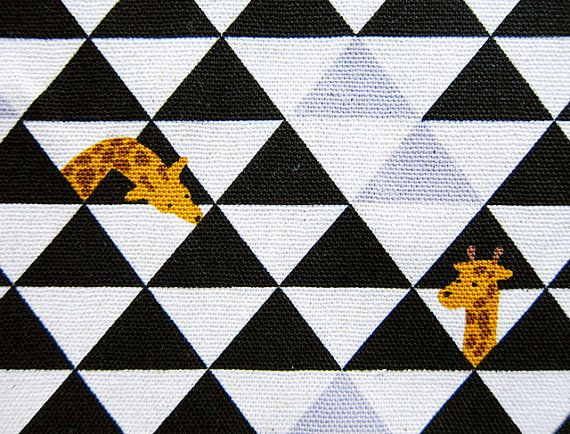 Animal Print Fabric - Cotton Linen Blend Fabric - Giraffes and Triangles - Half Yard