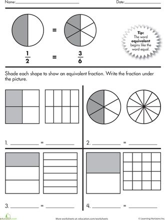 Worksheets: Fractions Practice: Equivalent Fractions 3rd math