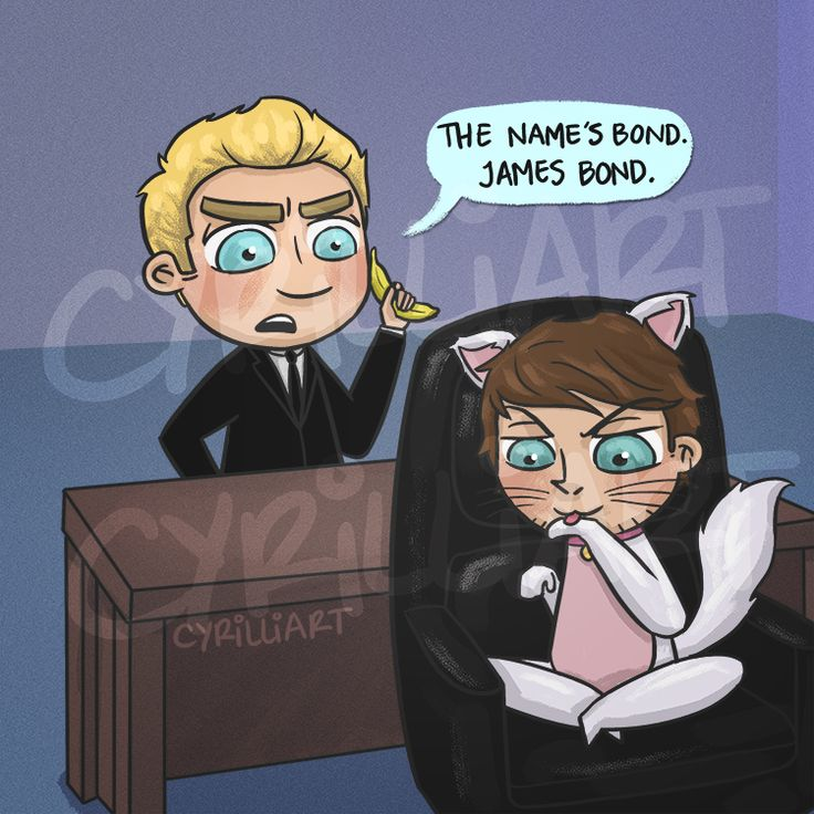 "@cyrilliart: ""well well well…"" who do we have here niall horan as James Bond guest staring Louis tomlinson the talking cat"