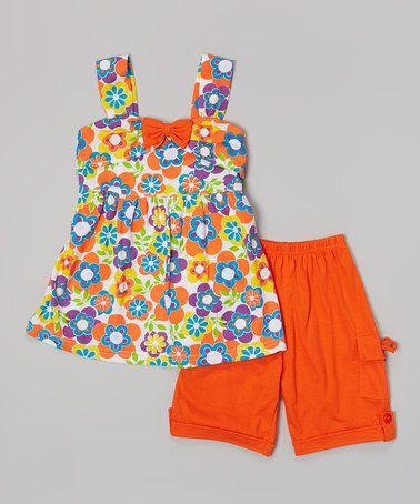Look at this #zulilyfind! Orange Floral Bow Top & Shorts - Toddler & Girls by G&J Relations #zulilyfinds
