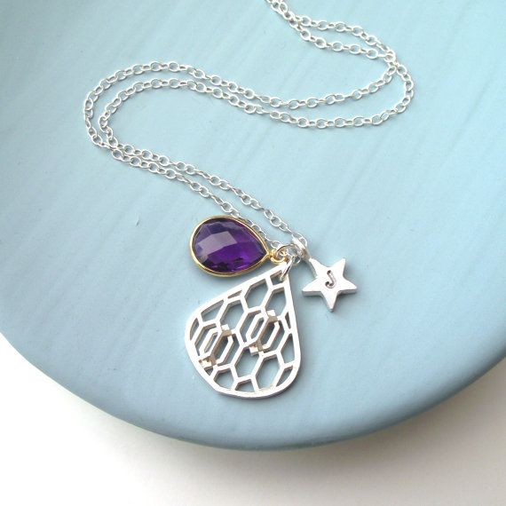 Personalised Purple Honeycomb Drop And Star Necklace by ZeldaWong