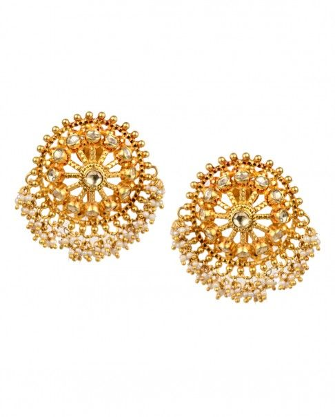 Golden Round Earrings with Kundan and Pearls