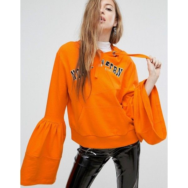 ASOS Hoodie With Frill Sleeve And Spliced Print ($37) ❤ liked on Polyvore featuring tops, hoodies, orange, print hoodie, patterned hoodies, oversized hoodie, tall hoodies and oversized hoodies