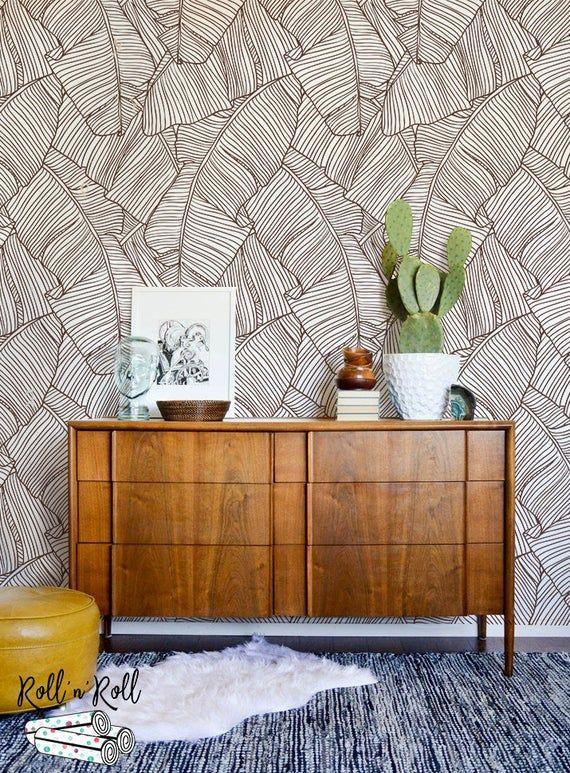 Banana Leaves Wallpaper Removable Wallpaper Banana Leaf Wall Mural Minimalist Wall Art Tropical Wall Decor Tropical Print Foliage 38 Tropical Wall Decor Banana Leaf Wallpaper Leaf Wallpaper