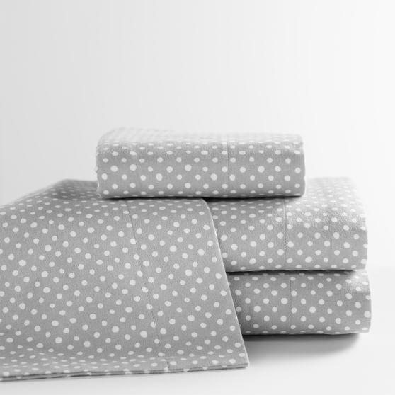 Snowball Dot Flannel Sheet Set