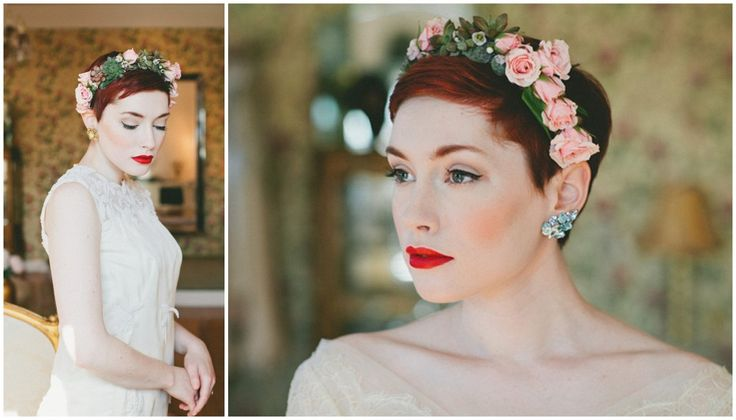 Kort haar bruidskapsel met bloemenkrans   De mooiste bruidskapsels van deze herfst