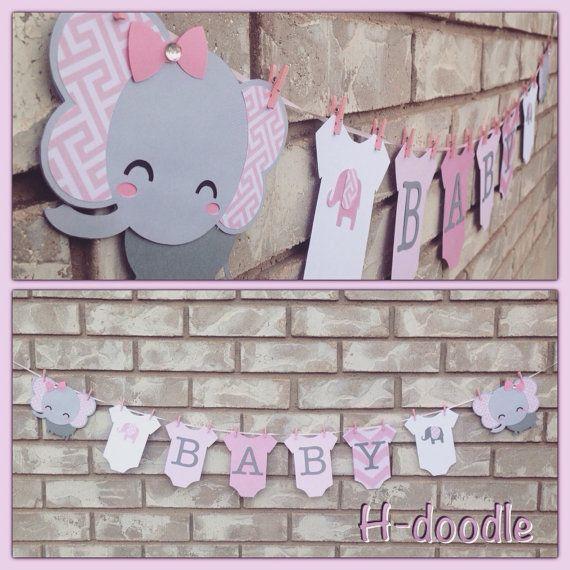 Bandera de elefante bebé Onesies rosa y gris bebé ducha por Hdoodle