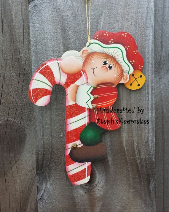 Handpainted  Christmas elf  Ornament christmas by stephskeepsakes