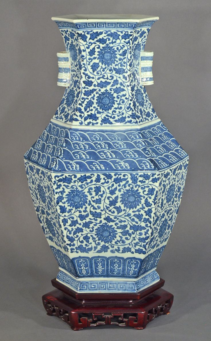 139 best blue and white porcelain images on pinterest blue china chinese blue and white ming style porcelain hu form hexagonal vase with stand reviewsmspy
