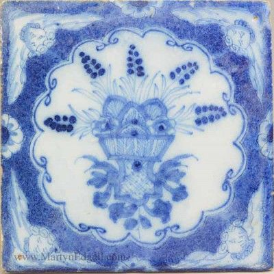 Liverpool delft tile with angel head corners, circa 1750 More stock available at www.martynedgell.com or follow us at www.facebook.com/martynedgellantiques