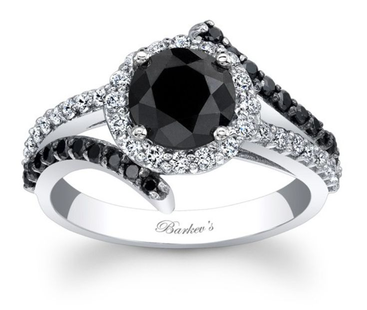 Angara Solitaire Enhanced Black Diamond Crossover Ring(4.8mm) in Rose Gold aEbwGh