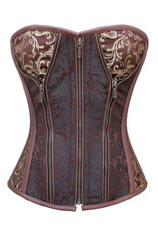 Authentic Steel Boned Brocade Overbust Corset in Sweetheart Pattern Front Zip | eBay