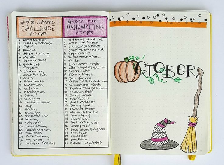 My Bullet Journal setup for October!  Come plan with me!