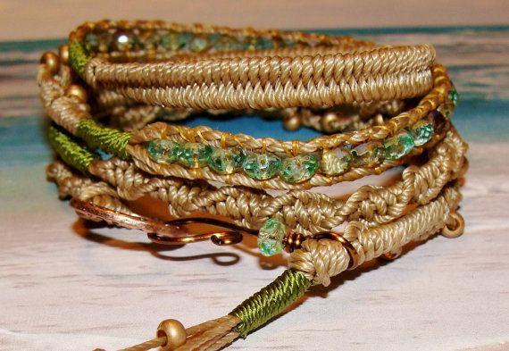 Boho Mermaid and picasso bead wrap macrame by imagebeadjewelry