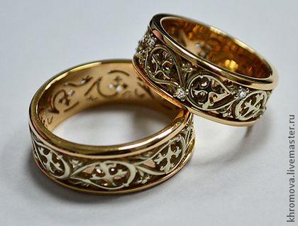 Ажурные обручальные кольца с растительным узором. Handmade.