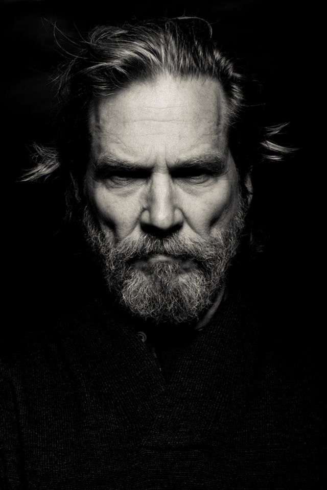 Studies in lighting with subject Jeff Bridges. Lighting can change the mood from pensive to menacing.