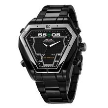 Weide hombres de marca famosa forma Irregular multifuncional hombre reloj reloj con alarma pantalla LED resistente al agua deportes(China (Mainland))