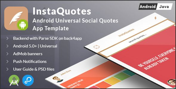 awesome InstaQuotes | Android Universal Social Quotes App Template (Complete Applications)