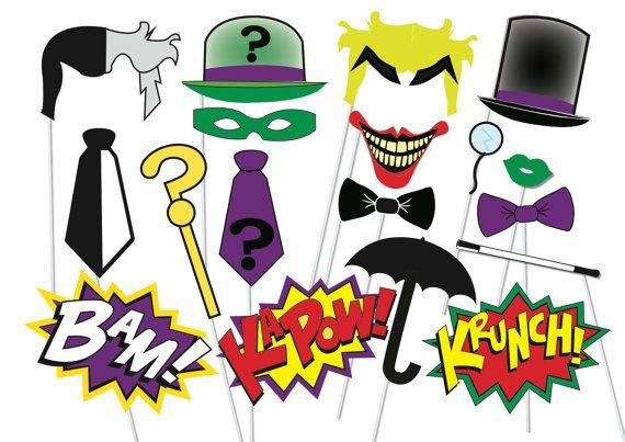 Superhero Photo booth Party Props Villains Set - 18 Piece PRINTABLE - villains, Two face, The riddler, The Joker, Penguin