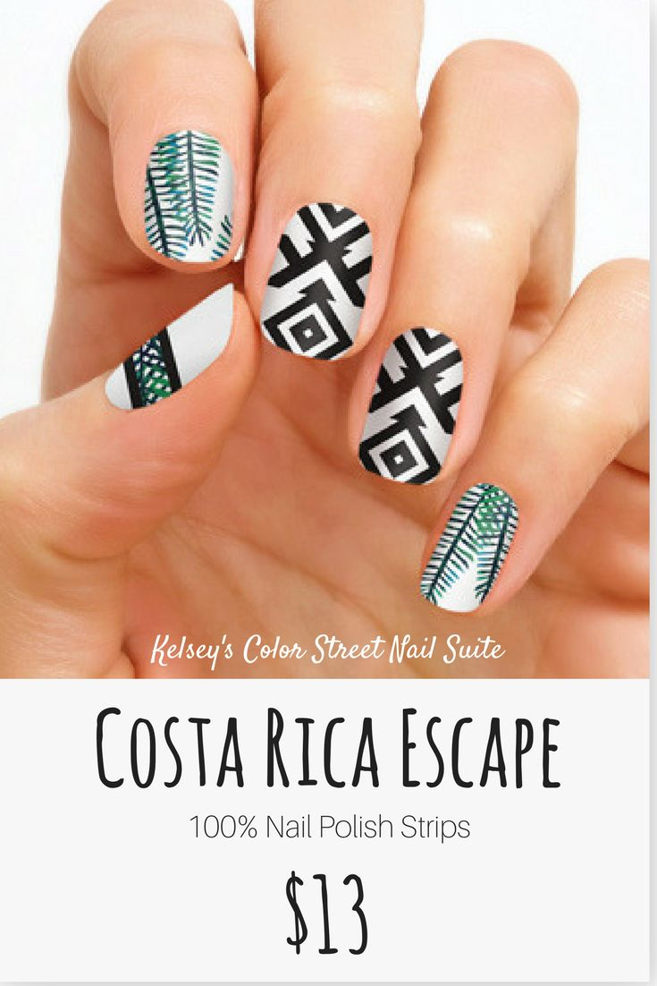 Color Street Costa Rica Escape. Palm leaves and aztec nail art, perfect for a tropical vacation or summer fun! Apply dry for a fast and easy manicure! Click for purchase options.