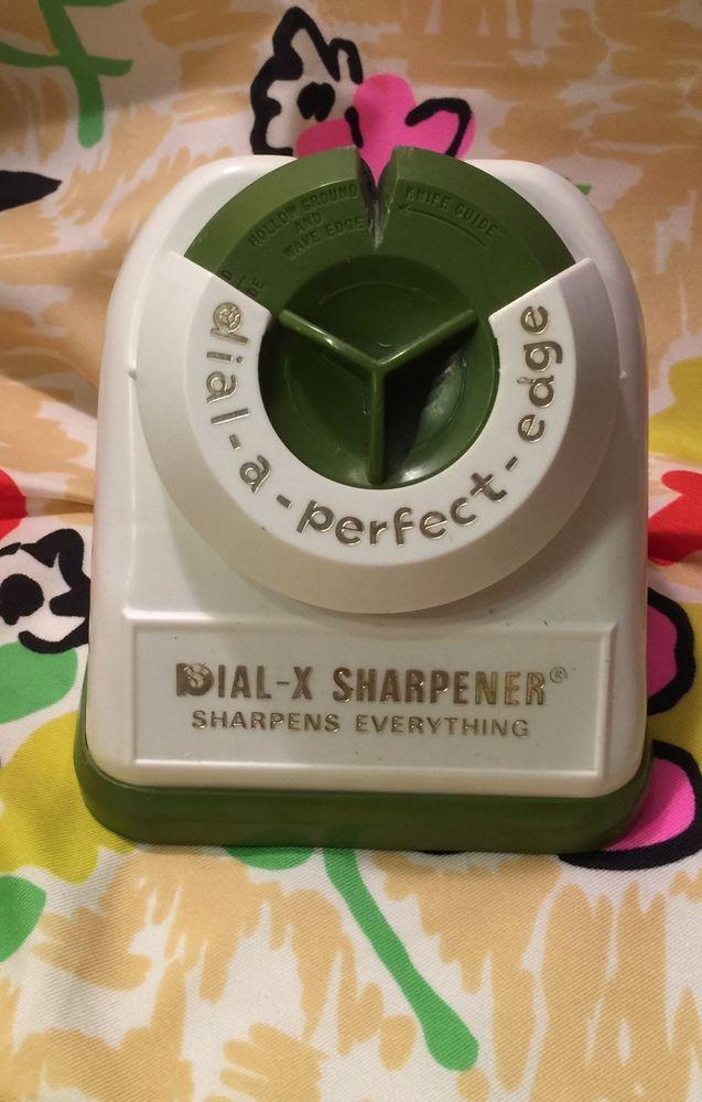 Vtg Mid Century Modern Kitchen Knife Sharpener Dial A Perfect Edge Retro Green