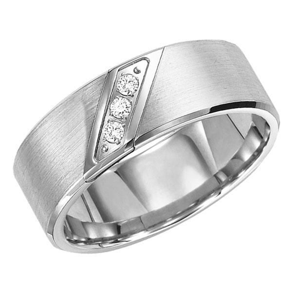 From TRITON, this 8mm white tungsten carbide comfort fit band features three round diamonds set in a diagonal line in the center. Diamonds are 1/10ctw. All TRITON tungsten carbide bands contain a patented TC.850 formula for a scratch resistant forever polished luster.