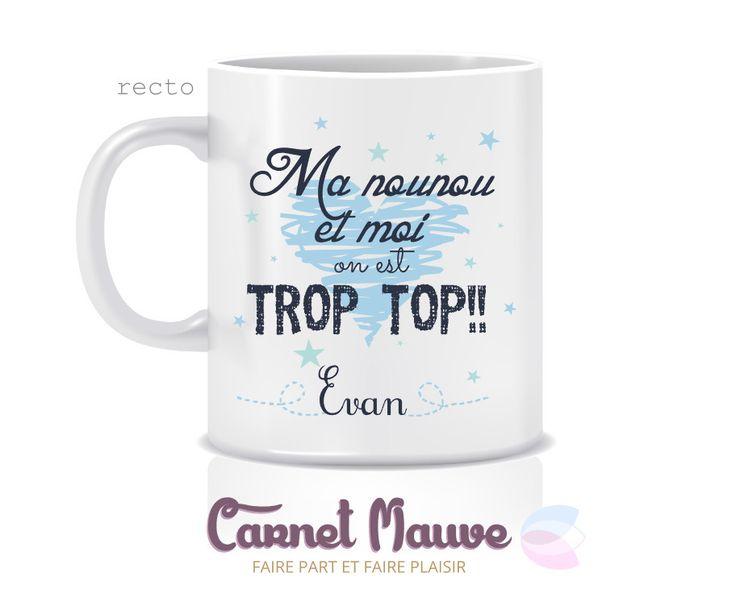 """MUG CADEAU """"NOUNOU TROP TOP"""" BLEU : Vaisselle, verres par carnetmauve"""