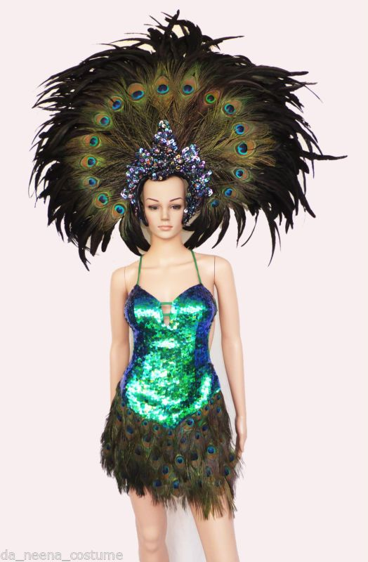 Da NeeNa T014 Showgirl  Vegas Dance Drag Peacock Headdress Costume XS-XL