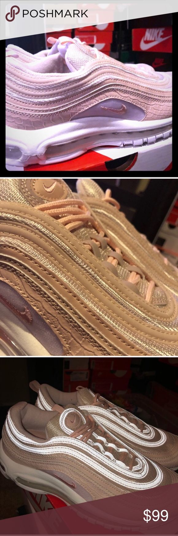 Nike air max 97 Pink Snakeskin, 8.5, NWRB!!! Nike Air Max 97 Pink Snakeskins, 8.5. Personal situation have left me with Just the Shoesl. Shoes will be shipped in a similar Nike replacement box. NEVER WORN OUTSIDE, worn twice inside on carpet. Price is firm and a great deal!! Nike Shoes Athletic Shoes