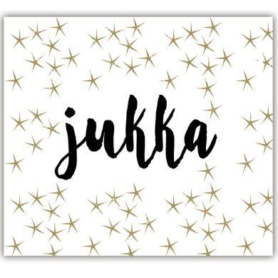 Geboortekaartje met gouden sterren en een handgeschreven lettertype.  Mooi in zijn eenvoud. #geboortekaartje #handgeschreven