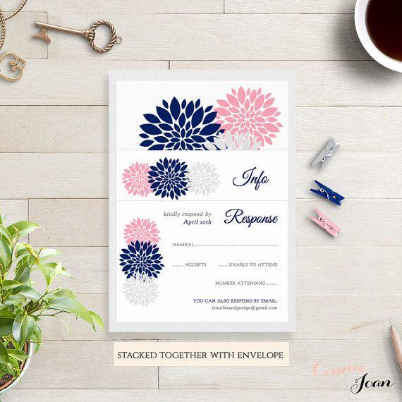 Navy blue pink blush silver Wedding Invitation by ConnieAndJoan