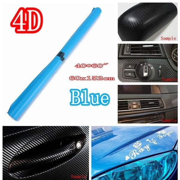 24 Inch X 60 Inch 4D Gloss Blue Car Auto Carbon Fiber Drum Wrap Skin Sticker Decal Cover. 24'x60' 4d Gloss Blue Car Auto Carbon Fiber Drum Wrap Skin Sticker Decal Cover    this Item Can Be Used On The Interior Or Exterior Of Your Vehicle. It Can Cover Any Smooth Surface. It Will Wrap Dash Parts, Mirrors, Trim, Or The Whole Exterior Of The Vehicles.    specification:    100% Brand New!!!  size: About 60cm * 152cm (24' * 60')  colour: 4d Gloss Blue  material: Pvc  placement On Vehicle: Left…