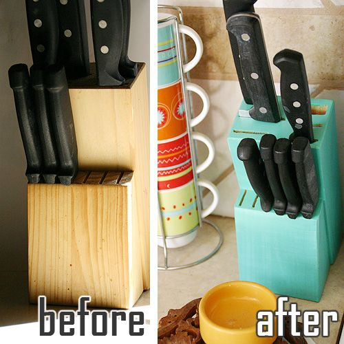 Paint your knife block...what a great way to give the kitchen a little POP of color! how did i not think of this!