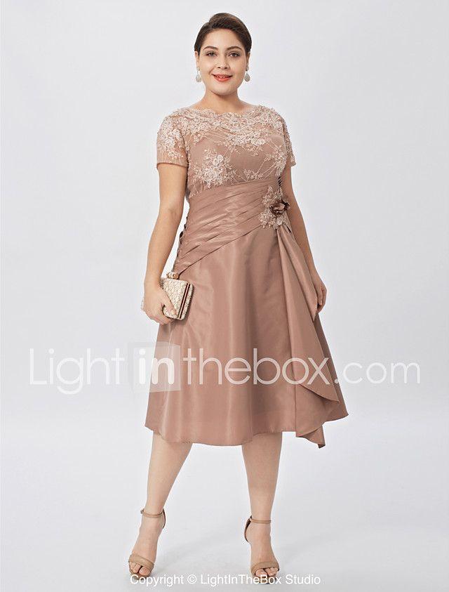 a-line šperk krk koleno délka krajka taft plus velikost matka nevěsty šaty s květinami lan ting bride® 2018 - €108.46