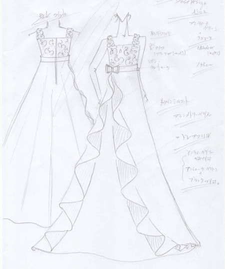 ステージに映えるドレスは、演奏曲や会場の配置、演奏する姿勢、会場の雰囲気をイメージしたドレスデザインが好まれます。  360度、どの角度から見ても違うドレスに見えるデザインが特徴的。左右非対称(アシンメトリードレス)がおすすめ。  お客様に描いたバイオリンのコンクール用ドレスです。ご参考くださいませ。