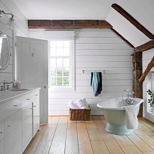 rustic white bathroom / post and beam NB: color of tub in soft robin's egg (tiffany) blue