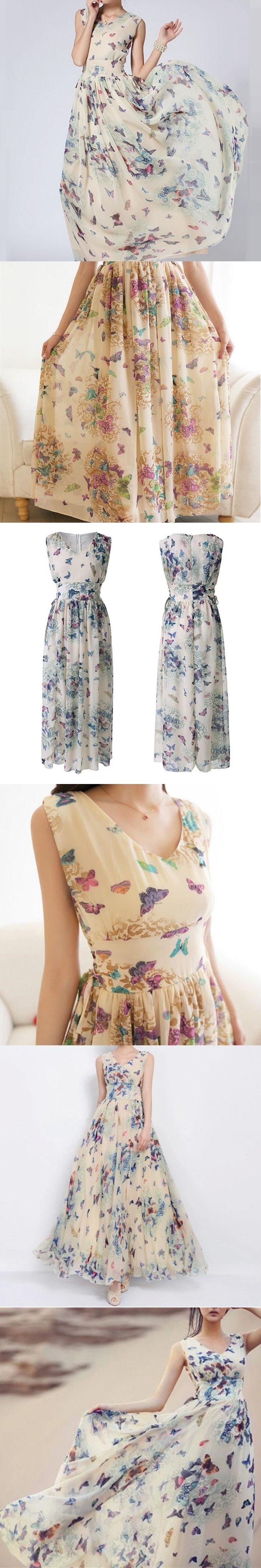 Fashion Butterfly Floral Print Dress,2017 Summer Beach Chiffon Sleeveless Maxi Dress Plus Size,Elegant Party Long Dress Vestidos