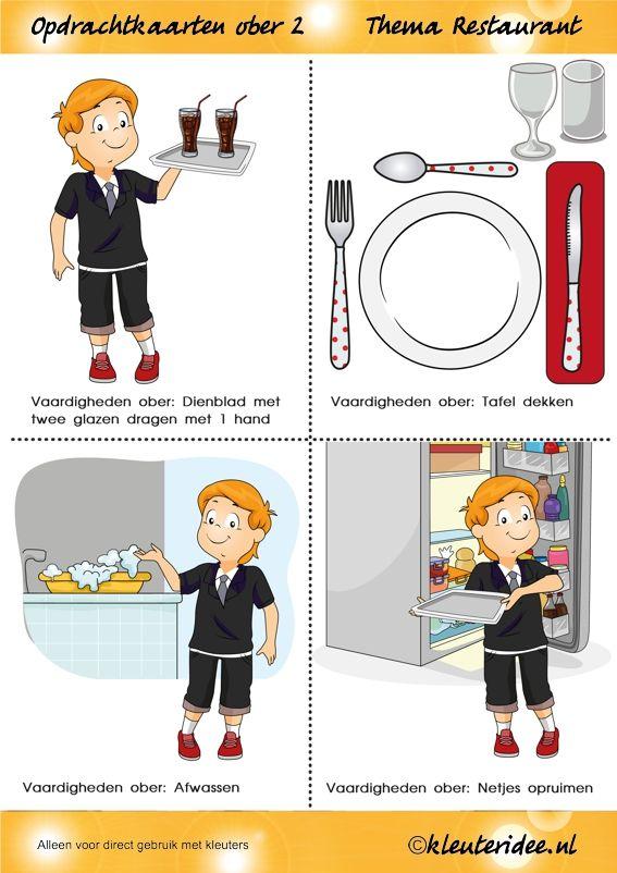 Opdrachtkaarten ober(opleiding) voor kleuters 2, thema restaurant, juf Petra van kleuteridee.nl, Waiter job tickets, Restaurant role play cards 2, free printable
