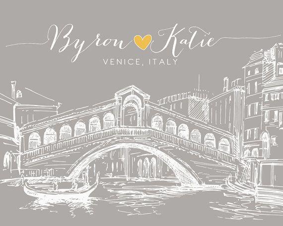 Unique Engagement Gift, Venice Italy Italian Art Print - 8x10 Wedding Anniversary Gift, Honeymoon Engagement Present, Rialto Bridge, Skyline on Etsy, $23.99
