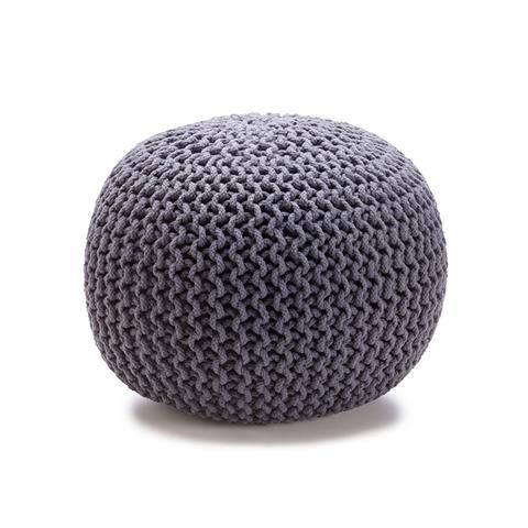 Knitted Ottoman - Charcoal | Kmart