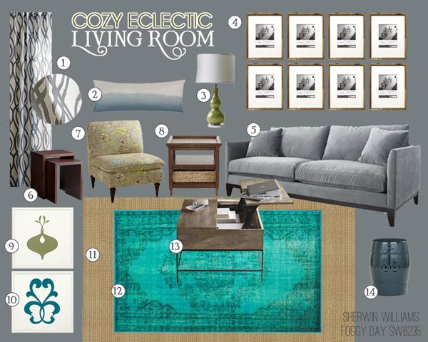 Cozy Eclectic Living Room Mood Board | Teal And Lime Interiors