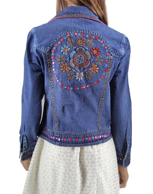 Embellished Jean Jackets | ... Jackets and Vests Cattlelac Ranch Ladies Embellished Denim Jacket