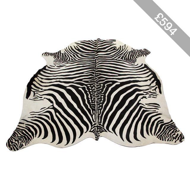 Amara Zebra Printed Cow Skin Rug - Black / White