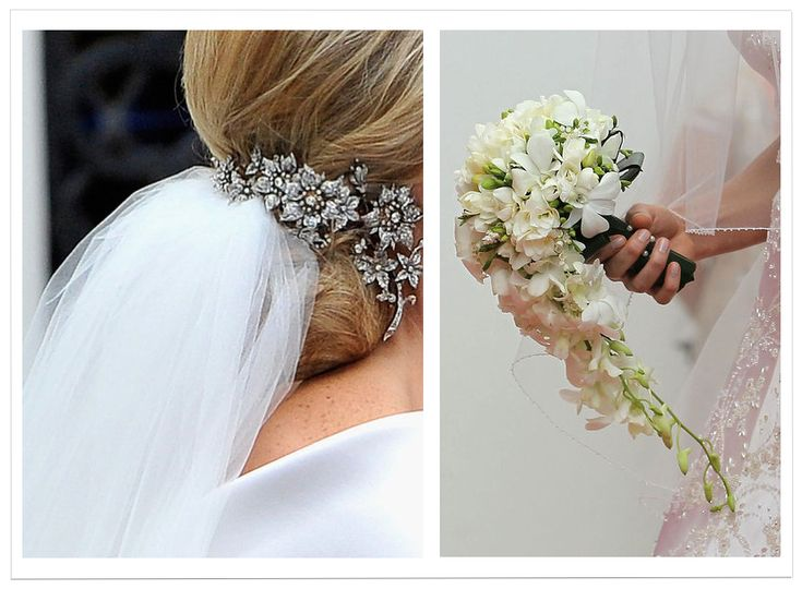 Princess Charlene of Monaco on her wedding day, the hair tiara was a gift from Princess Caroline. The bouquet was perfect.