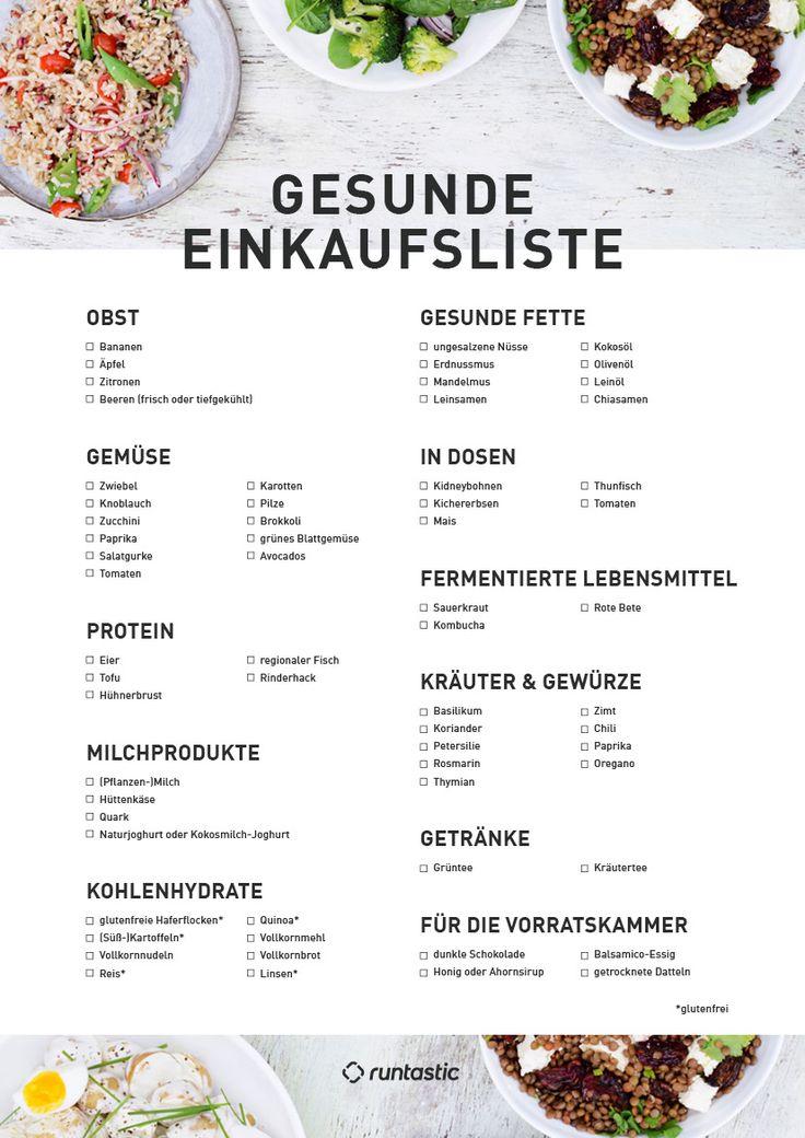 Diese 13 Lebensmittel solltest du immer in Vorratskammer, Kühl- und Gefrierschrank haben. Zusätzlich findest du in unserem Blogbeitrag eine gesunde Einkaufsliste zum Ausdrucken.