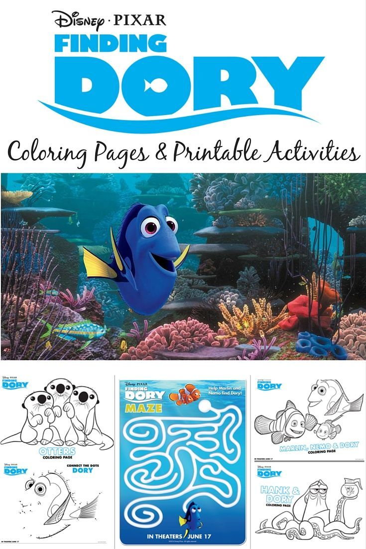 Summer dot to dot coloring pages - Finding Dory Coloring Pages Printable Activities