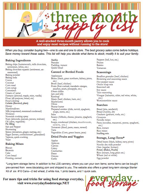 Three Month Supply Pantry List - Recommend list of items to keep in your pantry to get you through three months of emergency living.