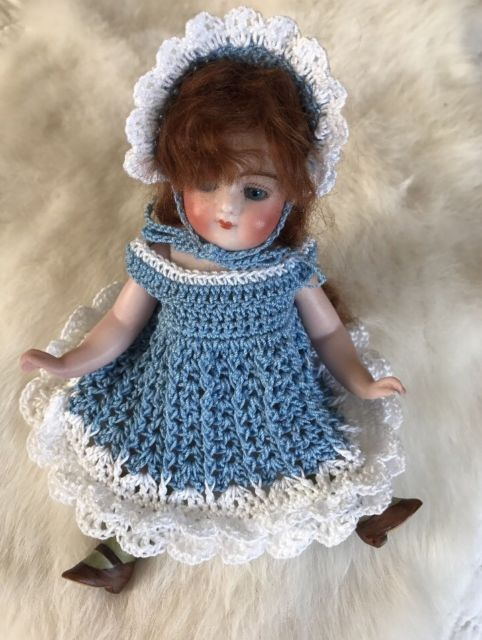 "Crochet Dress And Hat for 6 - 6.5"" Mignonette, Kestner, All Bisque Doll 
