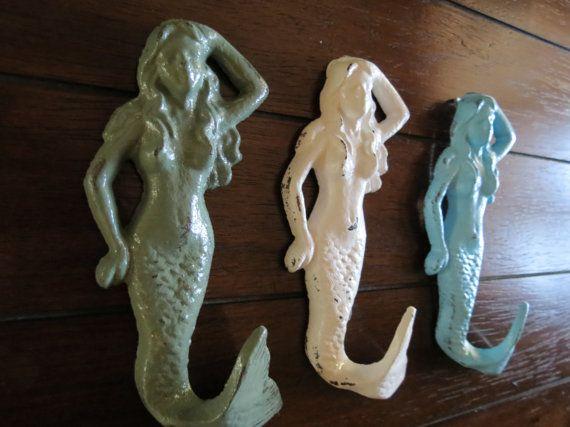 Mermaid Hooks / Shabby Chic Wall Hooks / Towel Hooks / Bathroom Hook Set/ Nursery Hooks/Nautical Hook Set
